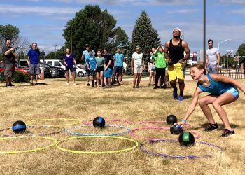 Students compete in team activity at Middle School Madness 2021.